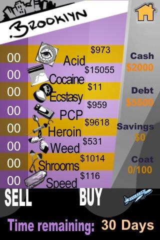 Dope Wars for Android v.1!- screenshot