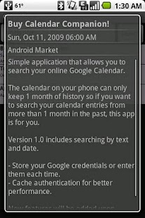 Calendar Companion (Search) - screenshot thumbnail