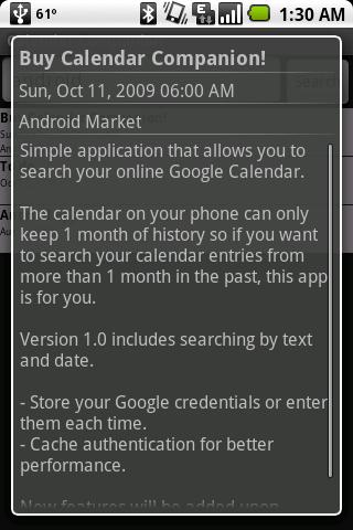 Calendar Companion (Search) - screenshot