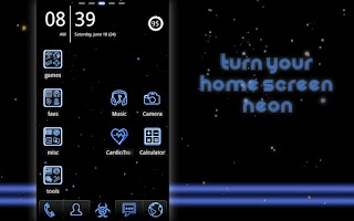 Screenshot of Neon Blue GO Launcher Theme