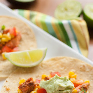 Salmon Tacos with Avocado Crema