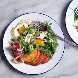 Balsamic Eggs with Peaches and Prosciutto Recipe