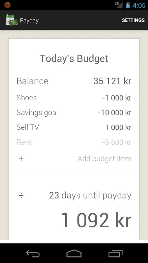 Payday - Today's budget- screenshot