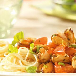 Italiaanse Mosselen Met Spaghetti