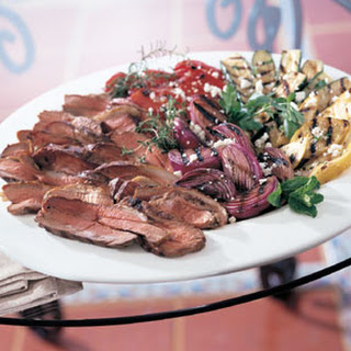 Grilled Butterflied Leg of Lamb and Vegetables with Lemon-Herb Dressing
