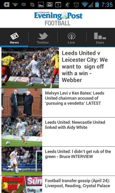 YEP Football app - screenshot