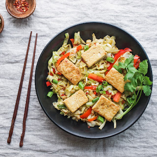 Spicy Stir-Fried Cabbage, Tofu and Red Pepper