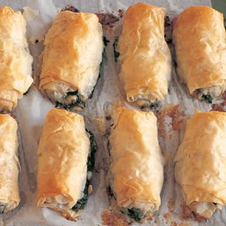 Filo Rolls with Arugula, Spinach and Feta