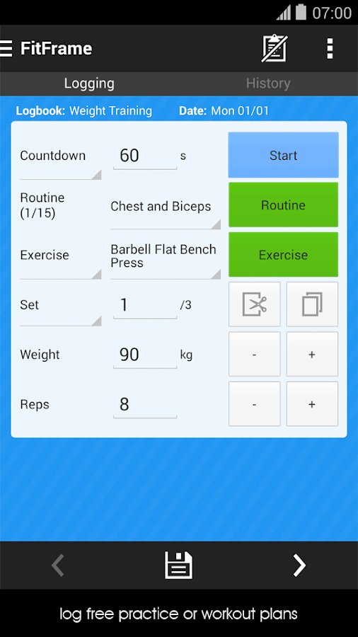 Fitness Workout Log Diary - screenshot