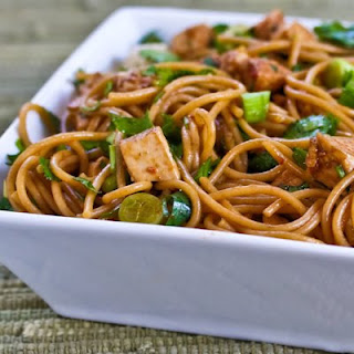 Spicy Whole Wheat Sesame Noodles with Chicken, Green Onions, and Cilantro.