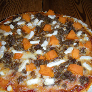 Sausage and Sweet Potato Pizza with Goat Cheese.