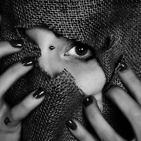 The Hole by Mike Lloyd - Black & White Portraits & People ( b&w, girl, fabric, hole )