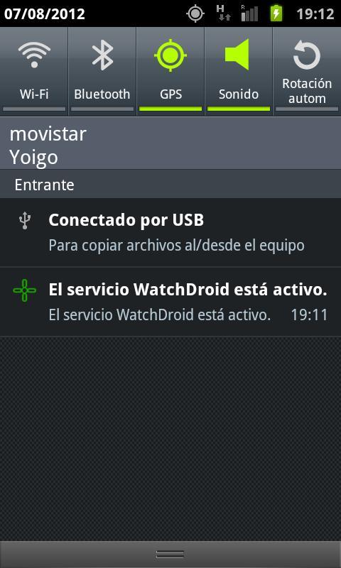 WatchDroid: captura de pantalla