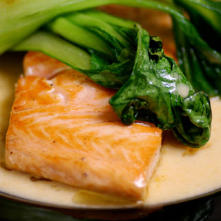 Salmon with Thai Red Curry and Bok Choy.
