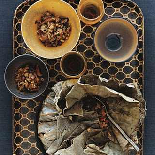 Smoked-Oyster Sticky Rice Stuffing in Lotus Leaf.
