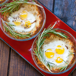 Quail Eggs in Hash Browns Nests.