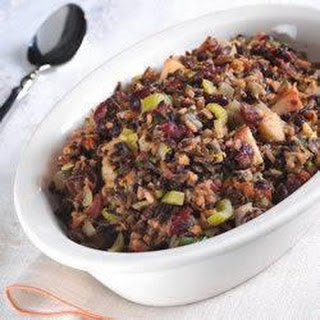 Wild Rice Stuffing with Apples, Currants and Bacon.