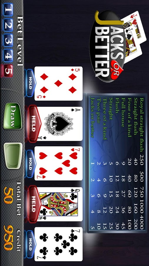 Jacks or Better Video Poker- screenshot