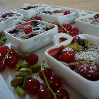 Small Red Fruit and Pistachio Gratins.