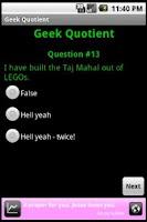 Screenshot of Geek Quotient Test