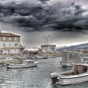 Boats in a cloudy Port by Nat Bolfan-Stosic - Transportation Boats ( port, adriatic, boats, cloudy, small, storm, stormy, weather )