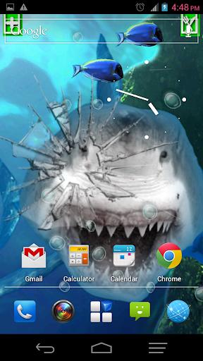 愤怒的鲨鱼宠物裂缝屏