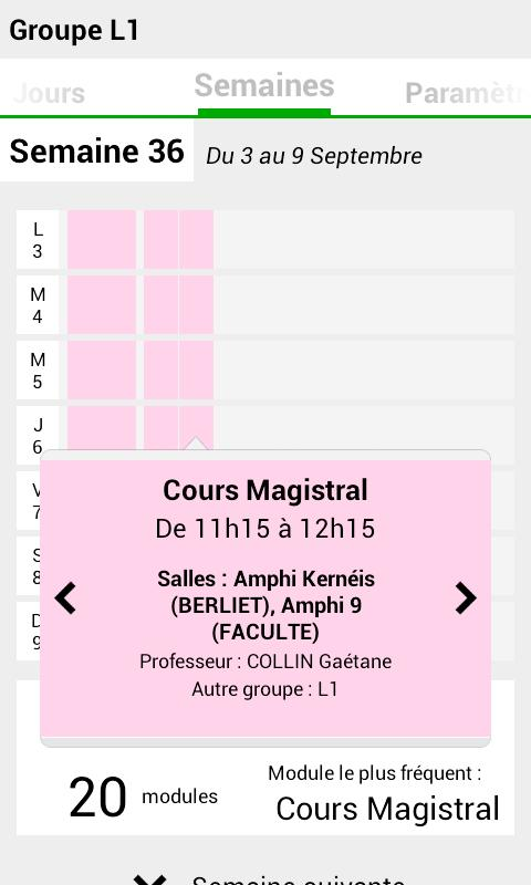 Emploi du temps Univ Nantes - screenshot