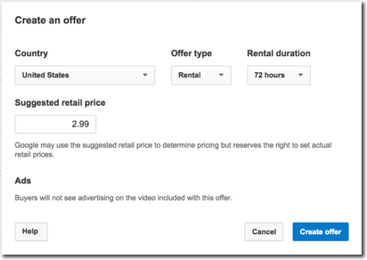 Create a rental offer dialog box