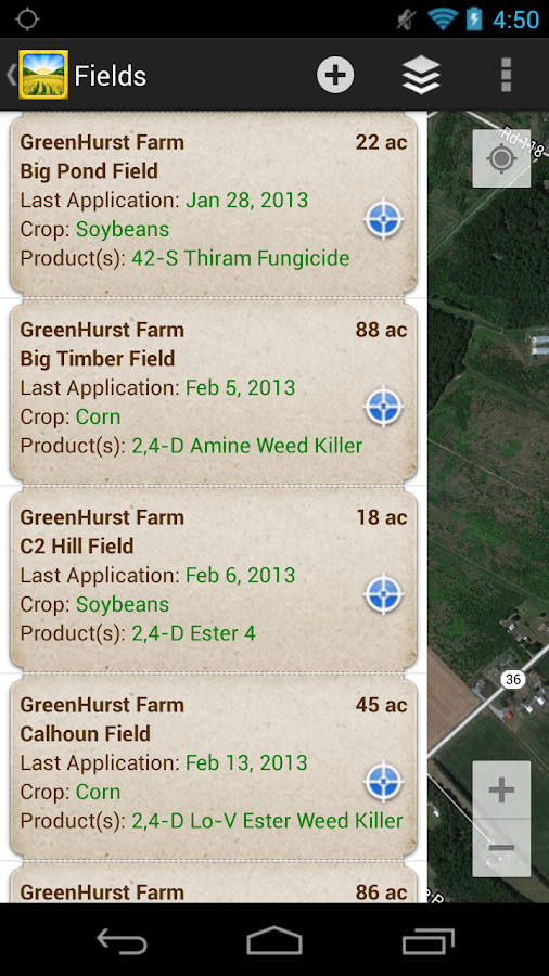 Pesticide and Field Records - screenshot