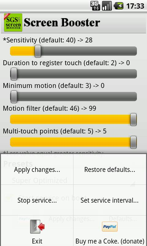 SGS Touchscreen Booster- screenshot