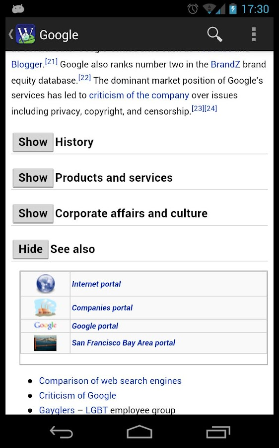 Wikidroid (Wikipedia Browser) - screenshot