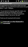 Screenshot of Driving Mode Widget