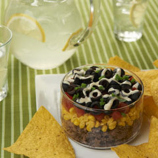 Layered Guacamole Ranch Party Dip.