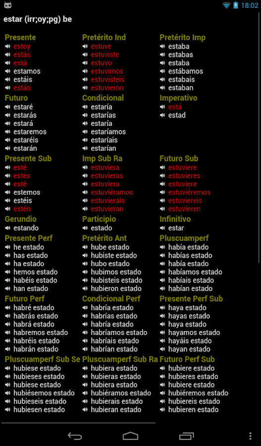 Spanish Verbs- screenshot