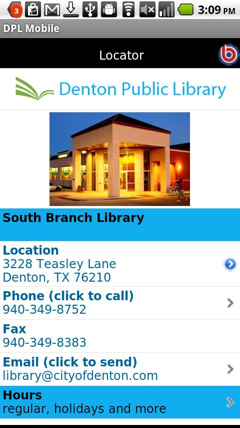 Denton Public Library- screenshot