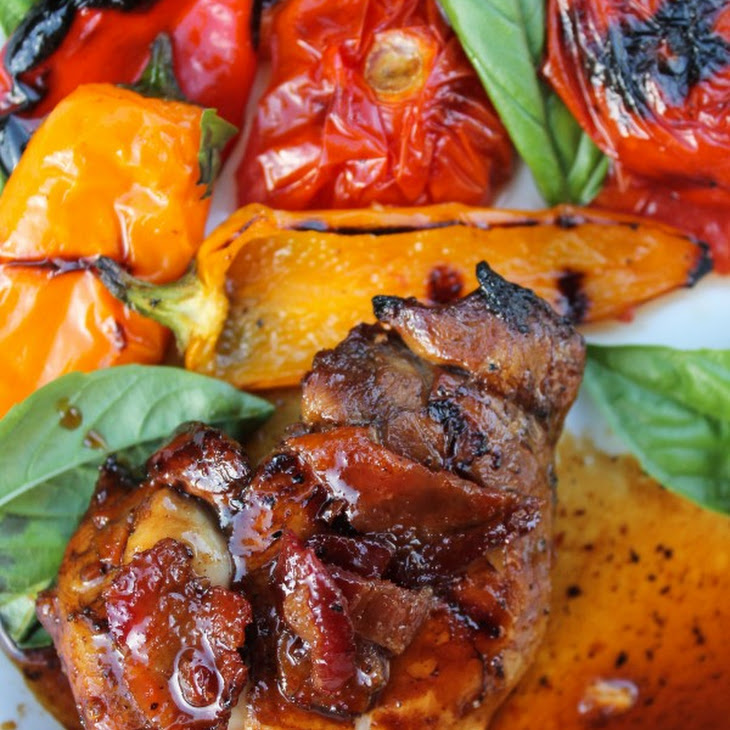 Balsamic Grilled Chicken with Spicy Honey Bacon Glaze Recipe