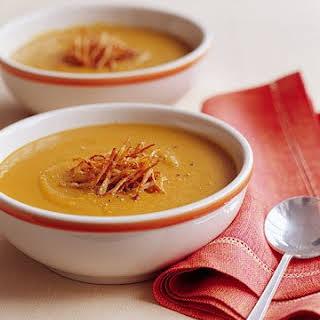 Spiced Red Lentil Soup with Crispy Fried Ginger.