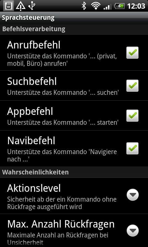 Sprachsteuerung - screenshot