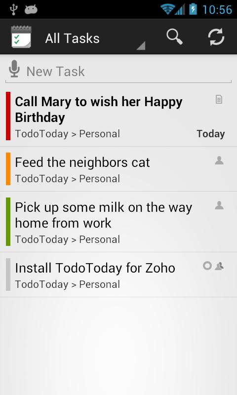 TodoToday for Zoho Projects- screenshot