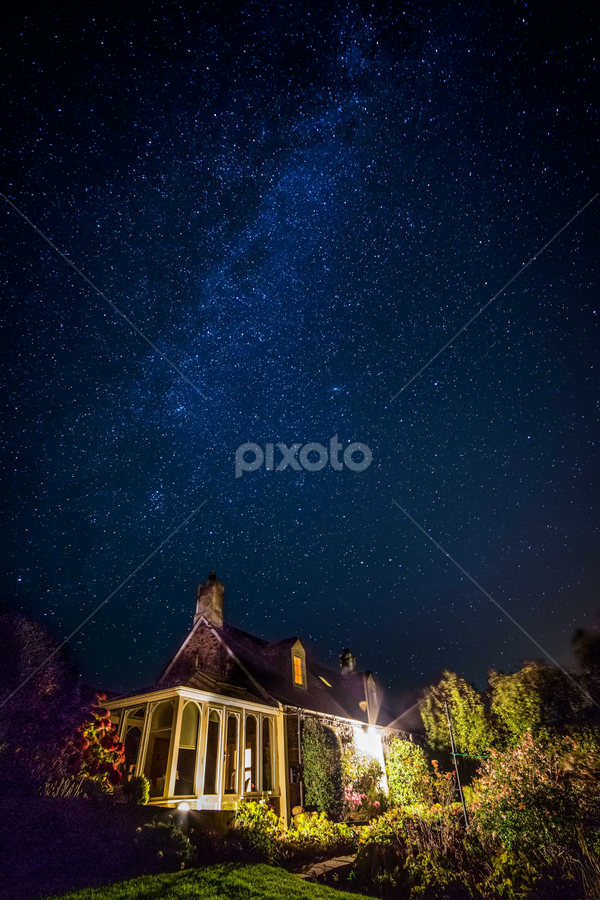Cottage life by Michael Payne - Landscapes Starscapes ( coldingham, scotland, night shot, milky way,  )