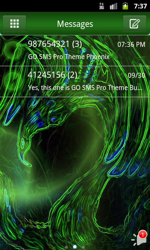 GO SMS Pro Theme Phoenix - screenshot