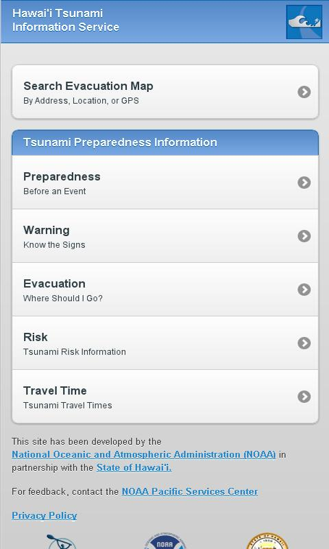 Hawaii Tsunami Info Service - screenshot