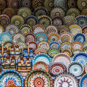 The street market of Bachkovo, Bulgaria by Kiril Krastev - City,  Street & Park  Markets & Shops ( plovdiv, canon, 70d, colors, street, handmade, object, 18-200, bachkovo, market, plates, color, pottery, bulgaria,  )