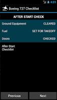 Screenshot of Boeing B727 Checklist