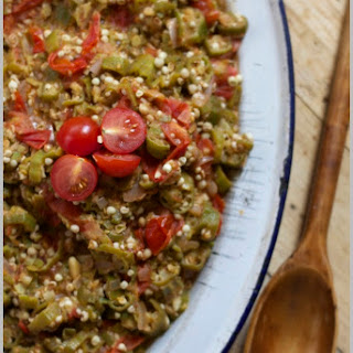 Smothered Okra with Stewed Tomatoes and Onions