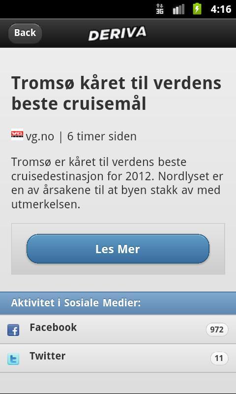 Deriva Nyheter - screenshot