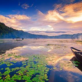 Morning Fog by Eris Suhendra - Landscapes Sunsets & Sunrises ( bali, sky, fog, indonesia, lake, travel, sunrise, nikon, landscapes )