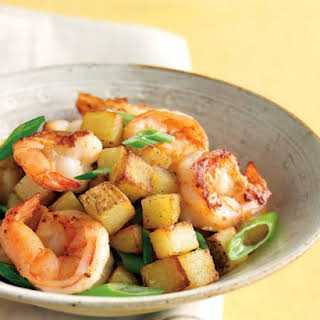Shrimp with Scallions and Crispy Potatoes.