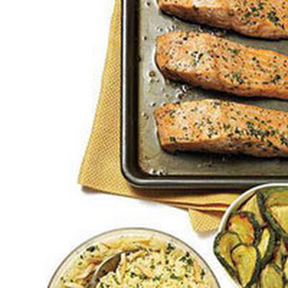 Roasted Salmon with Zucchini and Nutty Couscous.