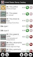 Screenshot of United States Stamp Catalog